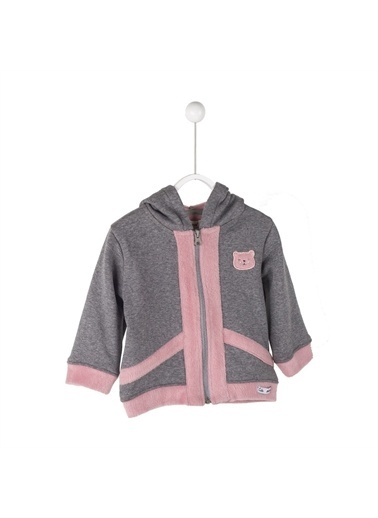 Silversun Kids Kapşonlu Baskılı Önden Fermuar Kapamalı Uzun Kol Bebek Kız Sweatshirt Jm 114835 Pembe